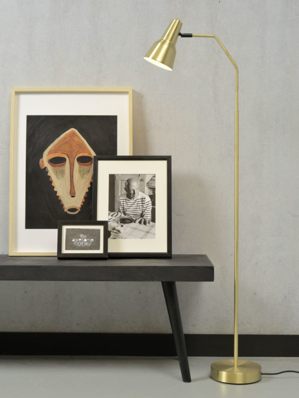 Vloerlamp ijzer Valencia b.44xh.144cm/kap dia.12,5xh.20cm, goud it's about RoMi Vloerlamp VALENCIA/F/GO