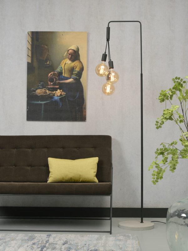 Vloerlamp ijzer/cement Oslo h.190xb.48cm voor 3 lampen, zwart it's about RoMi Vloerlamp OSLO/F3/B