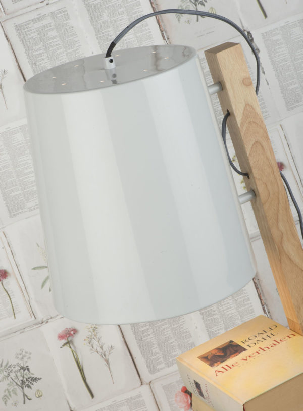 Vloerlamp ijzer/wood Cambridge v. boeken h.168cm/kap dia.30xh.32cm, naturel/wit it's about RoMi Vloerlamp CAMBRIDGE/F/W