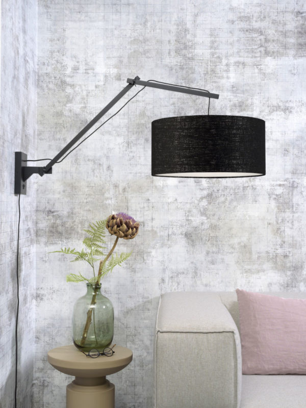 Wandlamp Andes bamboe zw./kap 47x23cm ecolin. zw. L it's about RoMi Wandlamp ANDES/W3/B/4723/B