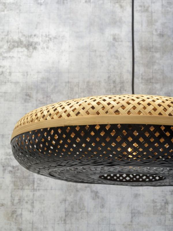 Wandlamp Palawan bamboe zw./kap 60x15cm nat./zwart, L it's about RoMi Wandlamp PALAWAN/W3/AD/B/6015/BN