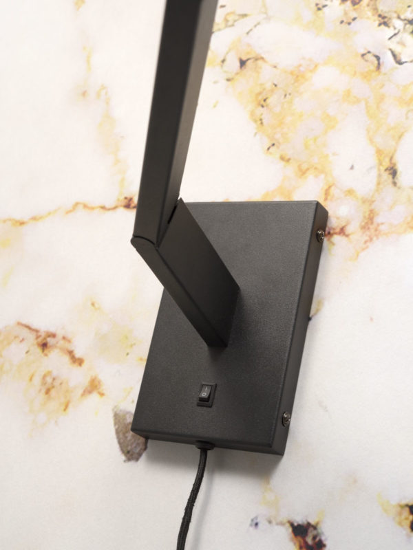 Wandlamp ijzer Biarritz lange arm l.88cmxh.22cm verstelbaar/kap dia.12xh.16cm, zwart it's about RoMi Wandlamp BIARRITZ/WA/B