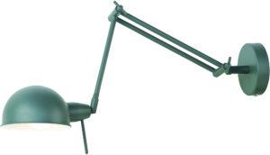 Wandlamp ijzer Glasgow h.37cm/l.50-80cm, kap dia.15xh.9cm, mat grijsgroen it's about RoMi Wandlamp GLASGOW/W/GG