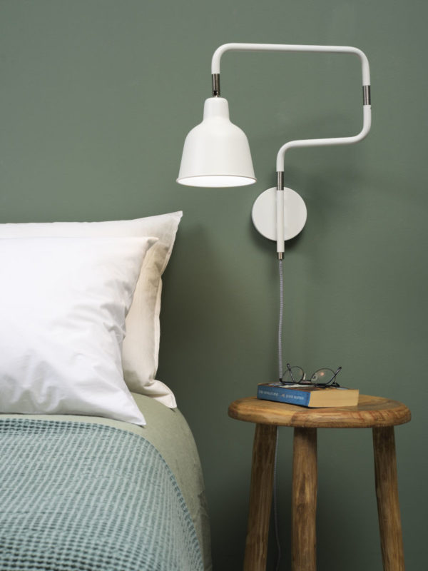 Wandlamp ijzer London b.44xh.40cm/kap dia.16xh.16cm, wit it's about RoMi Wandlamp LONDON/W/W