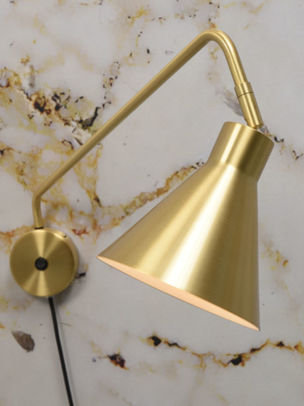 Wandlamp ijzer Lyon b.70xh.28cm/kap.dia.16xh.17cm, goud it's about RoMi Wandlamp LYON/W/GO