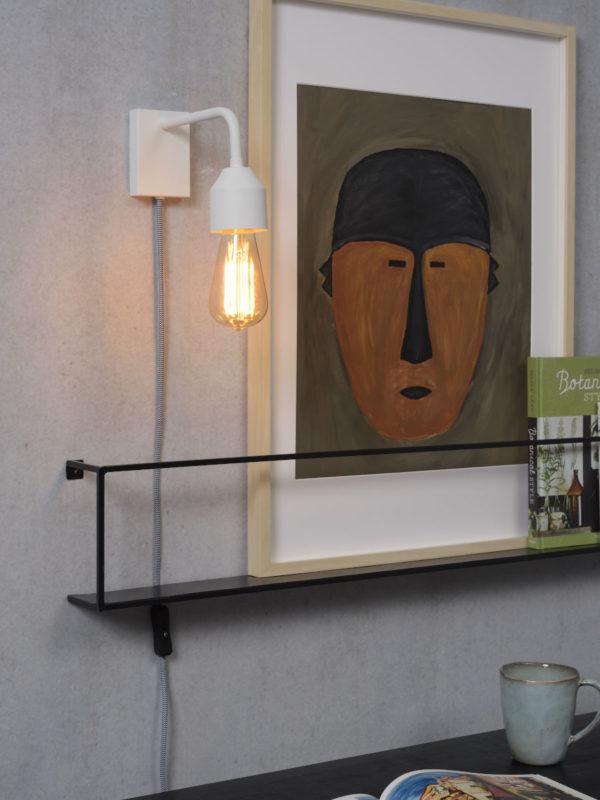 Wandlamp ijzer Madrid 18x7xh.14cm wit, S it's about RoMi Wandlamp MADRID/W/W