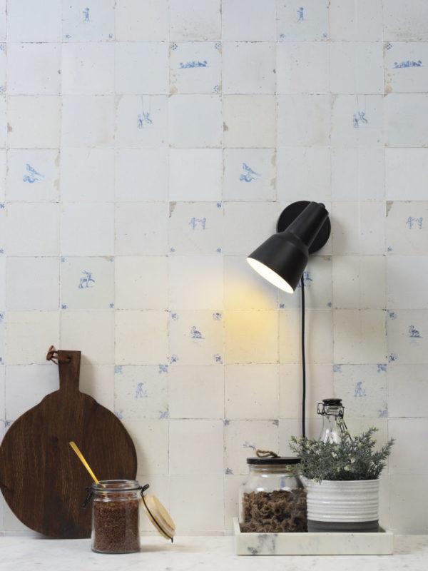 Wandlamp ijzer Valencia b.22xh.20cm/kap dia.12,5xh.20cm, zwart it's about RoMi Wandlamp VALENCIA/W/B