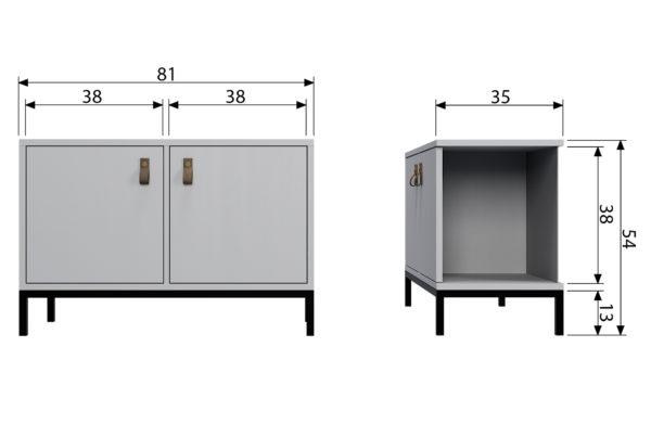 vtwonen Vt Lower Case Two Doors Betongrijs Incl Onderstel Concrete grey Kast