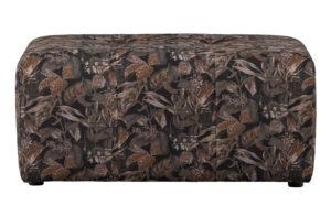 BePureHome Caleidoscoop Poef Printed Velvet Bq Zwart Bouquet black Bank