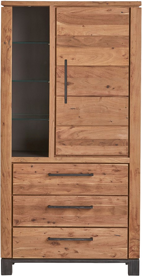 Vitrinekast met 1 deur, 3 lades en 1 open vak - Dalby Collection Nijwie Vitrinekast DLB.CB.0006