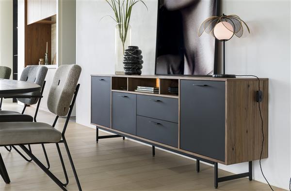 Xooon Torano dressoir 170 cm - 3-deuren + 1-lade + 2-niches (+ LED)  Dressoir