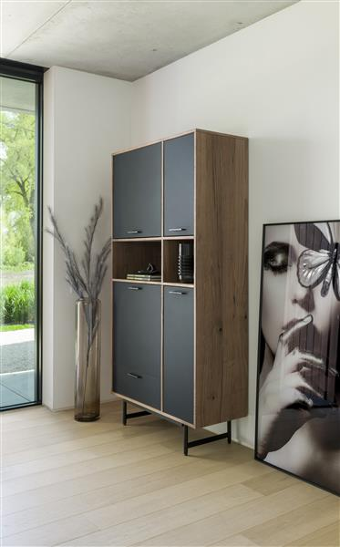 Xooon Torano roomdivider / boekenkast 75 cm - 1-lade T&T + 7-niches  Kast