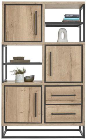 IN.House Opbergkast Sontari houtstructuur/metaal  Bergkast