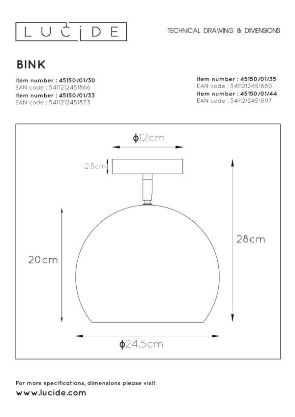 Bink plafonnière - zwart Lucide Plafonnière 45150/01/30