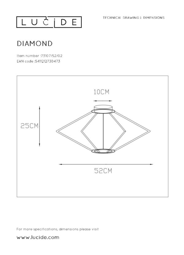 Diamond plafonnière - zwart Lucide Plafonnière 73107/52/02