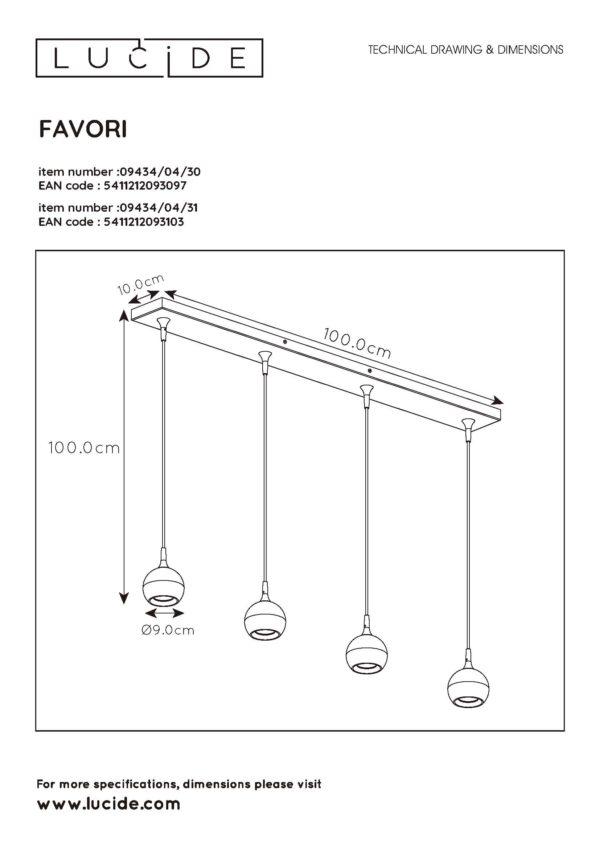 Favori hanglamp - mat goud / messing Lucide Hanglamp 09434/04/30