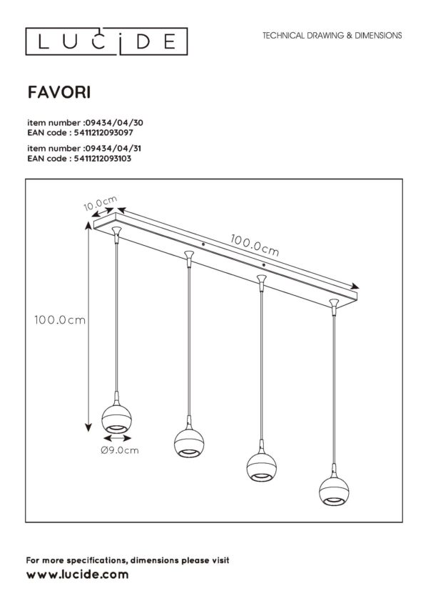Favori hanglamp - mat goud / messing Lucide Hanglamp 09434/04/31