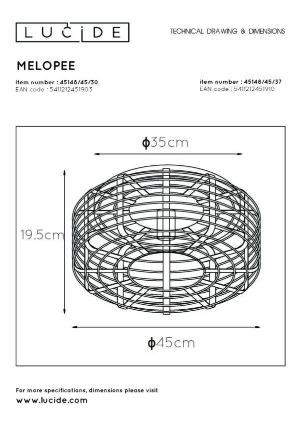 Melopee plafonnière - zwart Lucide Plafonnière 45148/45/30