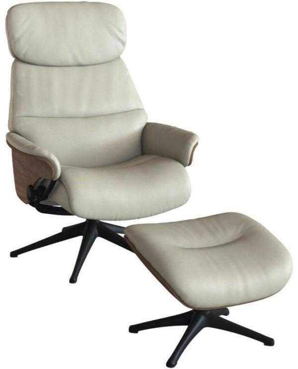 Aarhus fauteuil Flexlux - leder Savoy light grey