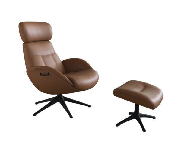 Elegant fauteuil van Flexlux in leder Savoy cognac brown